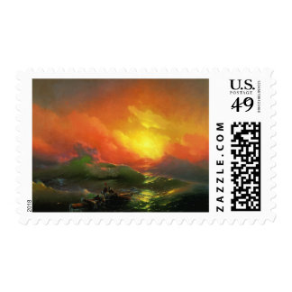Fiery Sunrise on the Waves Stamp