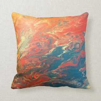 Fiery Sunset Abstract Pillow