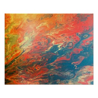 Fiery Sunset Abstract Poster