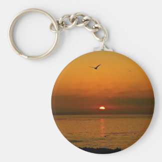 FIERY SUNSET AT THE PACIFIC OCEAN KEYCHAIN