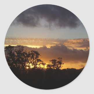 Fiery Sunset Classic Round Sticker