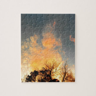 Fiery Sunset over the tree tops Jigsaw Puzzle