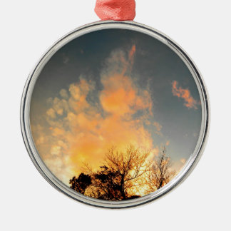 Fiery Sunset over the tree tops Metal Ornament