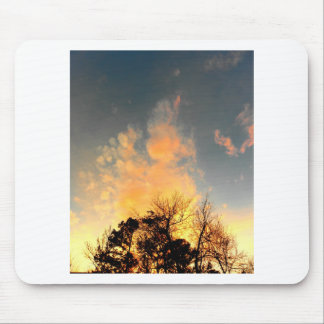 Fiery Sunset over the tree tops Mouse Pad