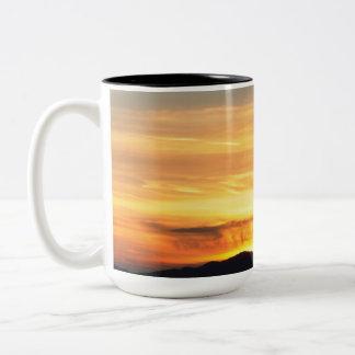 Fiery sunset sky Two-Tone coffee mug