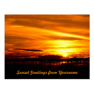 Fiery Sunset Through a Fence Orange Yellow Circles Postcard