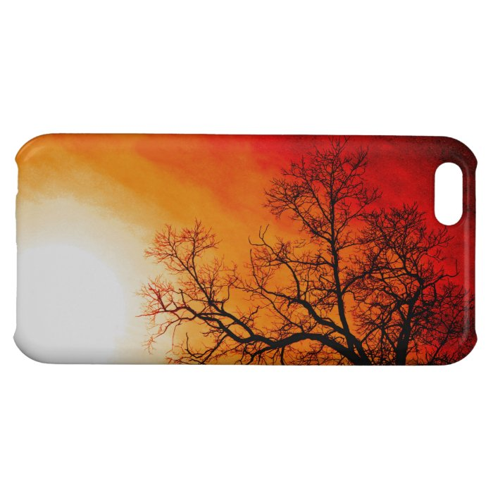 Fiery Sunset & Tree Branches Nature Art Case For iPhone 5C