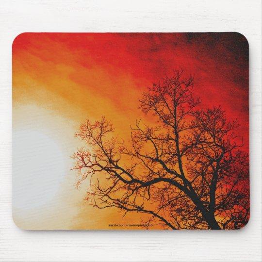 Fiery Sunset & Tree Nature Art Mouse Pad