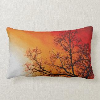 Fiery Sunset & Tree Nature Art Throw Pillow
