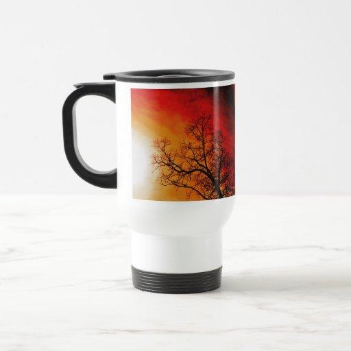 Fiery Sunset & Tree Nature Art Travel Mug
