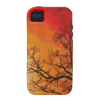 Fiery Sunset & Tree Nature Art Vibe iPhone 4 Case