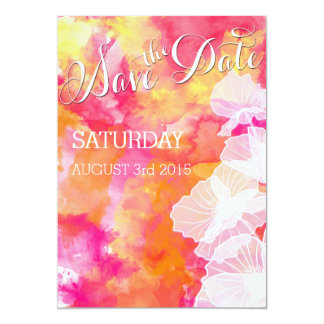 FIERY SUNSET WATERCOLOR HOLLYHOCK WEDDING CARD