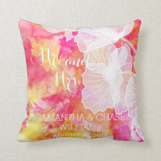 FIERY SUNSET WATERCOLOR HOLLYHOCK WEDDING PILLOW