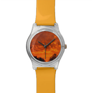 Fiery Sunset with trees Wrist Watches