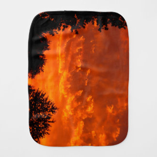 Fiery Sunset with trees Burp Cloth