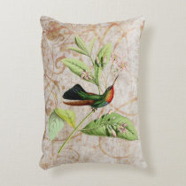 Fiery Throated Hummingbird Vintage Grunge Accent Pillow