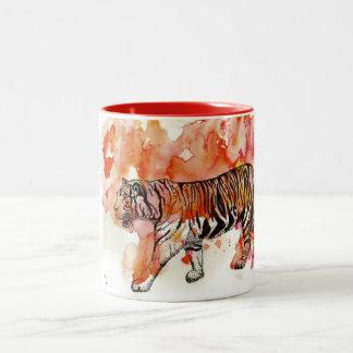 Fiery Tiger Watercolor Two-Tone Coffee Mug