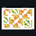 """Fiery Tulips on 17&quot; Laptop Skin<br><div class=""""desc"""">This laptop skin bears a painting called &#39;Fiery Tulip&#39; by me. It is called so as the striations on its petals look like flames of fire on a background of warm yellow. Spring is over quickly and Tulips disappear soon, but with this product you can savor their delightful charm all...</div>"""
