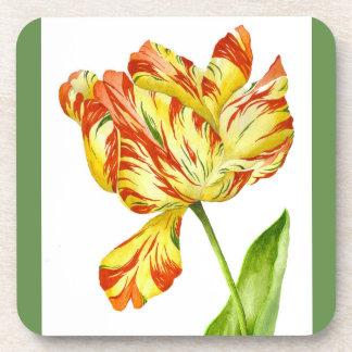 Fiery Tulips on a Set of Coasters
