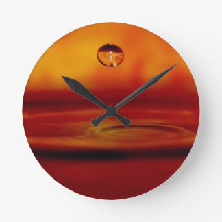 Fiery Water Orb Round Clock