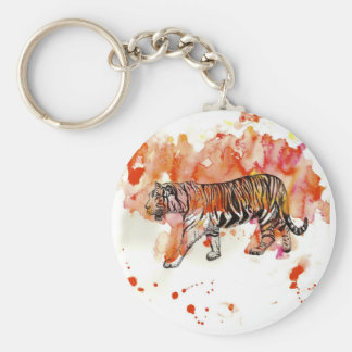 Fiery Watercolor Tiger Basic Round Button Keychain