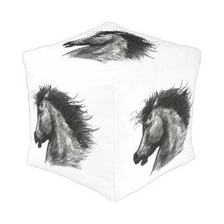Fiery Wild Horse Pouf