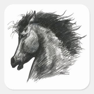 Fiery Wild Horse Square Sticker