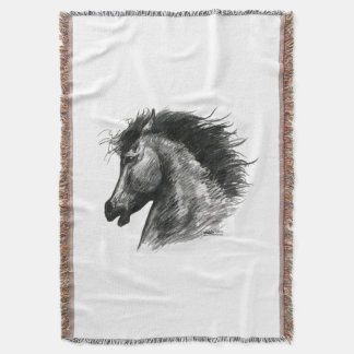 Fiery Wild Horse Throw Blanket