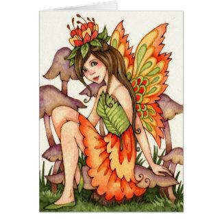 Fiery Wings - Autumn Fairy Art Card