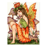 Fiery Wings - Autumn Fantasy Fairy Art Postcard
