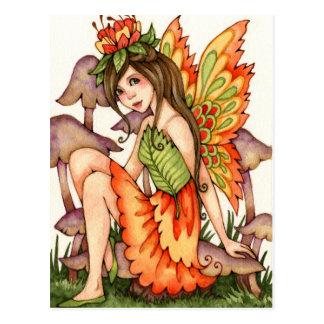 Fiery Wings - Autumn Fantasy Fairy Art Postcard