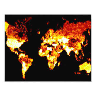 Fiery World Map Illustration Card
