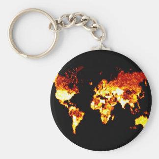 Fiery World Map Illustration Keychain