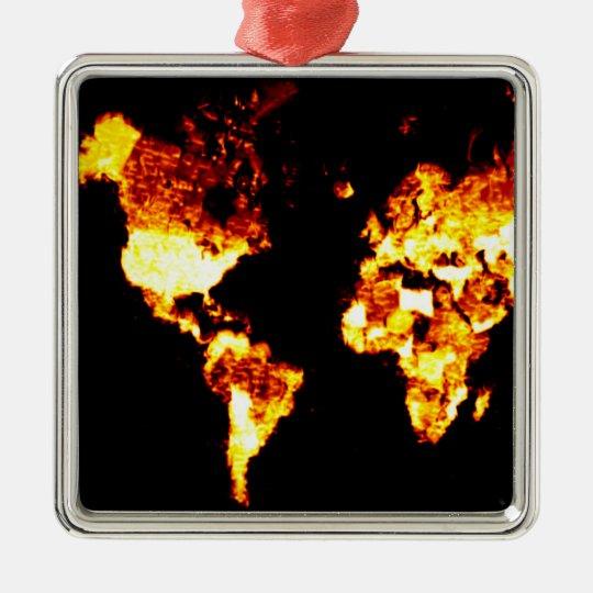 Fiery World Map Illustration Metal Ornament