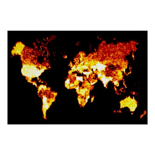 Fiery World Map Illustration Poster