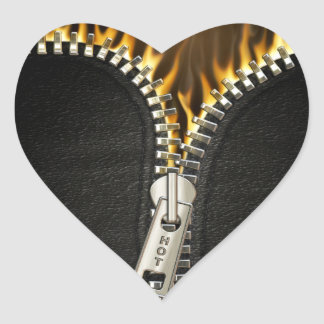 Fiery Zipper Heart Sticker