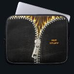 "Fiery Zipper Laptop Sleeve<br><div class=""desc"">Unleash the fire! Image of black leather with an opening metal zipper revealing flames.</div>"