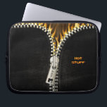 "Fiery Zipper Laptop Sleeve<br><div class=""desc"">Unleash the fire! Image of black leather with an opening metal zipper revealing flames.</div>"