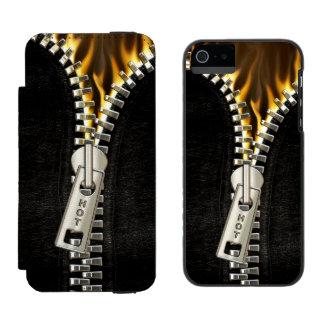 Fiery Zipper Wallet Case For iPhone SE/5/5s