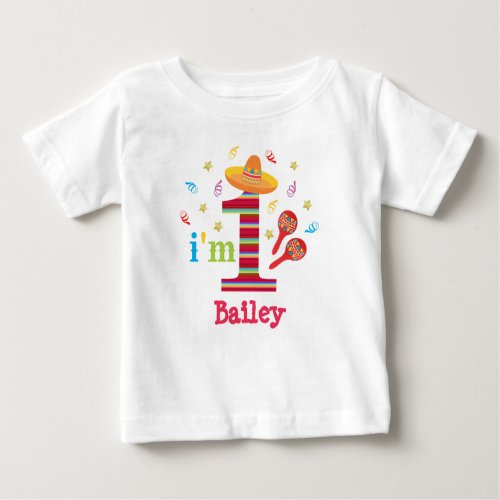 Fiesta 1st Birthday Cute Colorful Mexican Baby T_Shirt