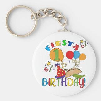 Fiesta 1st Birthday Tshirts and Gifts Basic Round Button Keychain