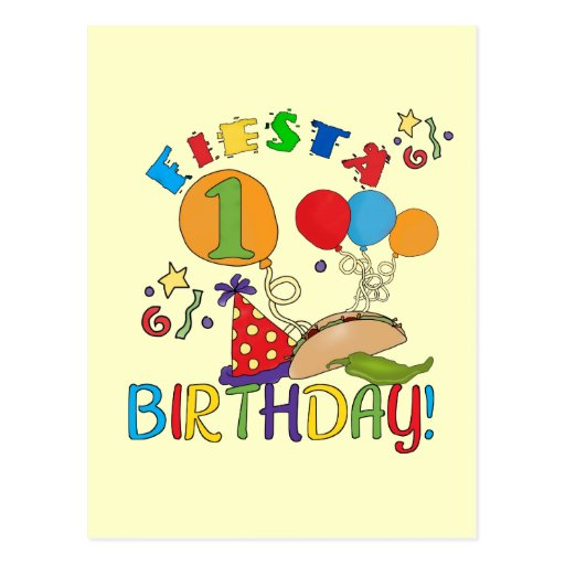 Fiesta 1st Birthday Tshirts And Gifts Postcard