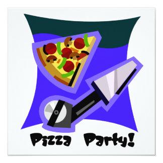 """Fiesta 4 de la pizza invitación 5.25"""" x 5.25"""""""