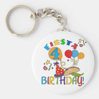 Fiesta 4th Birthday T-shirts and Gifts Basic Round Button Keychain