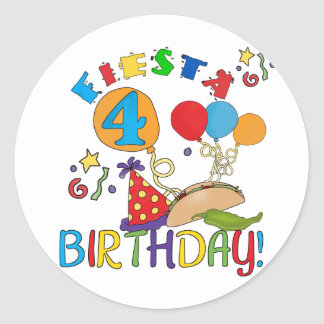 Fiesta 4th Birthday T-shirts and Gifts Classic Round Sticker