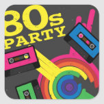 fiesta 80s calcomanías cuadradass