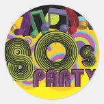 fiesta 80s etiqueta redonda