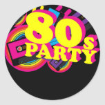 fiesta 80s etiquetas redondas
