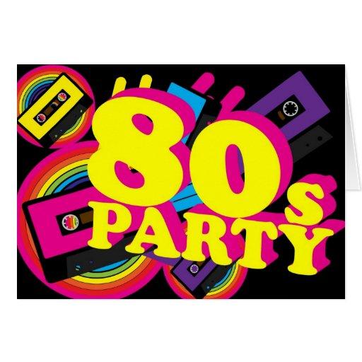 fiesta 80s felicitación