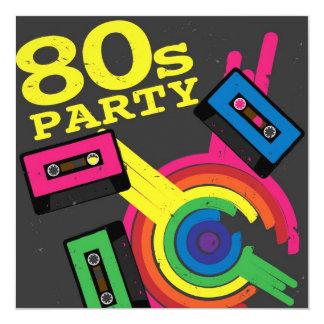 """fiesta 80s invitación 5.25"""" x 5.25"""""""